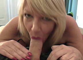 Horny mature Amy gives a blowjob in POV style