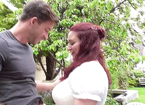 Chubby British mom fucking and sucking a dude in the garden