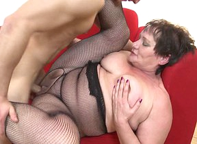 Chubby mature lady fucked wide of her toy boy