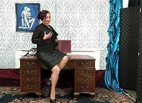 Naughty British housewife fooling give convenient hammer away office