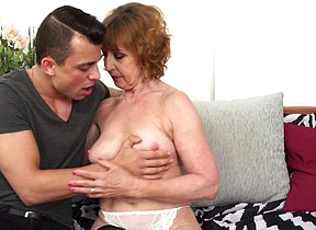 Flunk mature lady playing with her toy boy