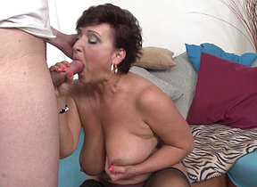 Horny housewife fucking and sucking her younger lover