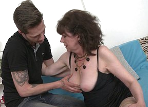 Hairy mature slut fucking her toy boy