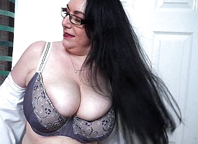 Huge breasted British housewife getting wet and