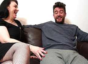 Big breasted British housewife sucking and fucking her lover on the couch