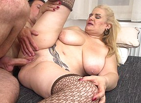 Naughty fat breasted mature lady doing her toy boy