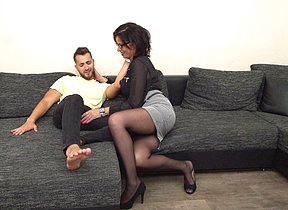 Horny German housewife fucking and sucking her trinket boy