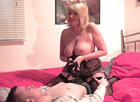 Marketable British housewife fucking with the addition of sucking her toy boy