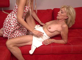 Horny old and young lesbian couple have fun