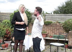 Tall British housewife doing will not hear of lover in the garden
