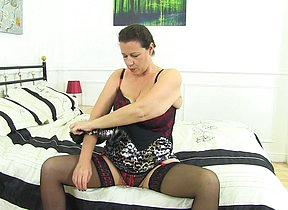 Big breasted British housewife loves her big toy