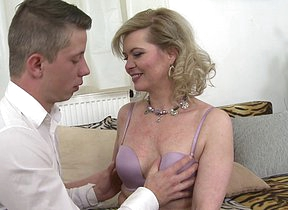 Horny housewife sucking and fucking her toy boy