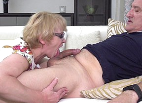 Horny mature lady fucking and sucking her man