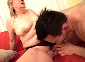 Hairy mature BBW fooling around with her toy boy