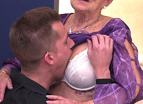 Adverse granny gets a visit from her toy boy