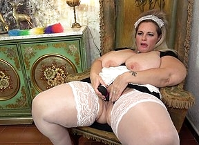Curvy chunky breasted BBW housemaid playing round something she found