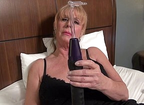 Finally the moment she waited all day long for a solo play with reference to her new dildo when nobody is in the house to halt her when acting so slutty and wild