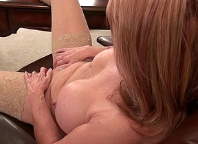 Morose female boss finger fucks her mature pussy while alone in her office causing herself great stimulation and insane orgasms in the end of her kinky play