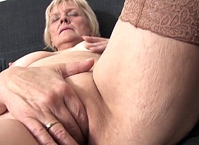 Aroused granny with fine ass and saggy tits mill magic on the brush pussy by sliding fingers inside and masturbating hard and steady just the way she loves it
