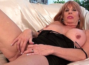 Horny old lady uses a vibrator to stimulate her pussy and clit as well as nipple pumps to play with her big natural tits and steam up the solo action