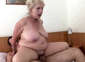 Naked granny shakes the big tits and screams of pleasure hither her nephews huge cock humping her pussy and ass in a complete hardcore cam deport oneself at home