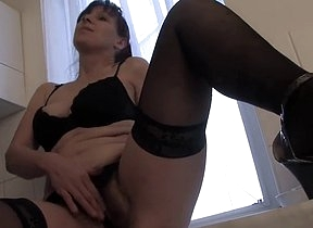 Home alone mom starts to feel horny and pretty needy to take down those fine undies and flash unadorned in a serious finger going to bed masturbation tryout down the kitchen
