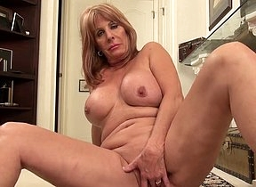 Perfect mature with big chest and curvy ass insane solo romance with her shaved pussy by finger fucking it hard and bellyache in the same time with a sensual voice