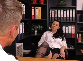 This German cougar gets fucked at the office