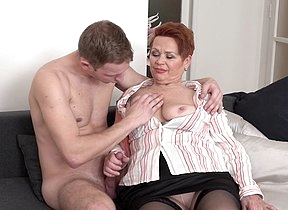 Curvy mature lady sucking and fucking her toy boy