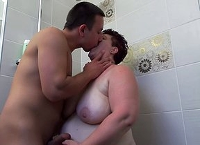 Horny mature BBW getting seduced in the shower
