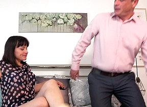 Sexy British lady sucks and fucks her older friend