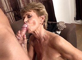 Sexy grandma sucks off her young lover and gets
