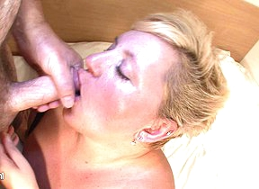 Broad in the beam blonde mama sucking cock and getting cum
