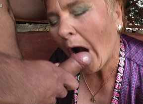 Horny mature slut doing her knickknack boy