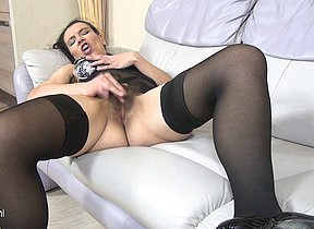 Hairy housewife masturbating in the first place the couch