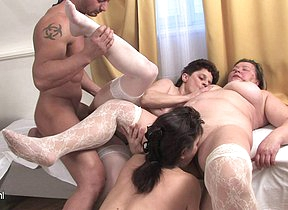 Three mature sluts share one hard cock