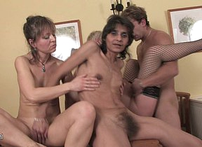 One dude fucking three horny mature sluts