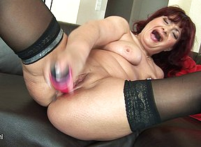 This horny female parent loves playing with her