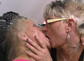 Three mature lesbians having sex