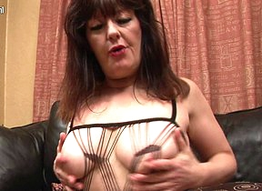 Horny British houswife having fun with her dildo